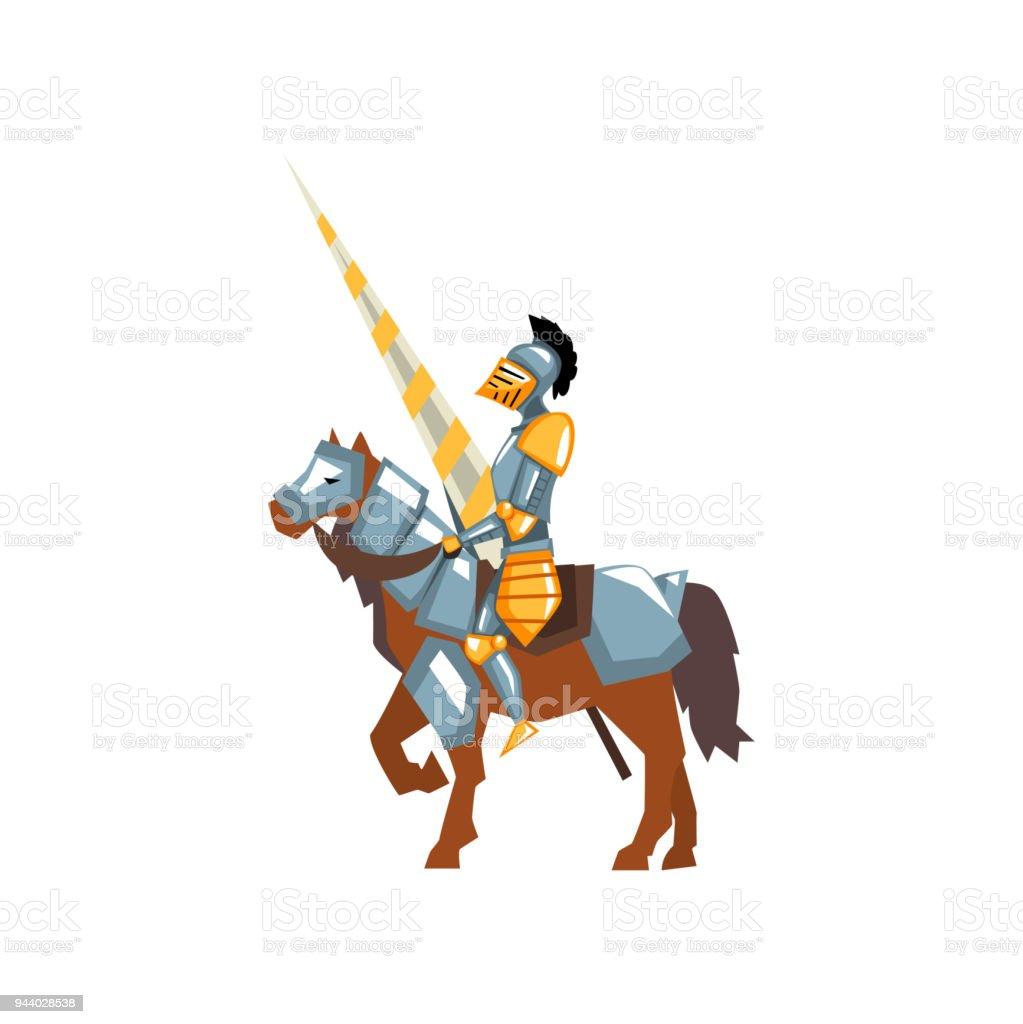 Ilustración de Valiente A Caballero De Brillante Armadura Con Lanza ...