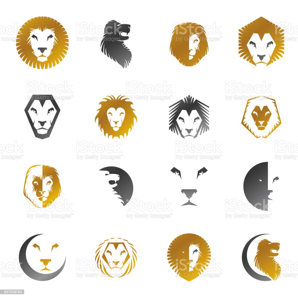 Brave Lion King Faces Emblems Elements Set Heraldic Coat Of