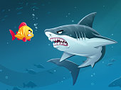 Vector illustration of a brave little fish confronting a terrifying shark in the sea. Concept for bravery, confidence, mergers and aquisitions, conflicts, bullying, sea life, danger, risk, confrontation and determination.