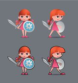 Cartoon young girl as a little knight, holding sword and shield