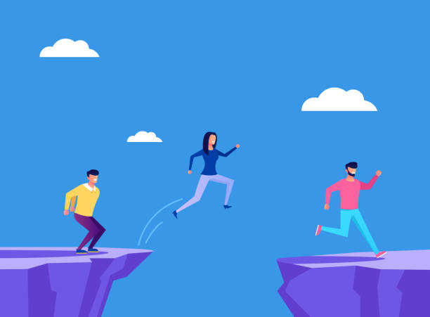 Brave people businessmen office workers characters jump across the cliff. Business strategy concept. Vector flat cartoon graphic design illustration Brave people businessmen office workers characters jump across the cliff. Business strategy concept. Vector flat cartoon graphic design cliff stock illustrations