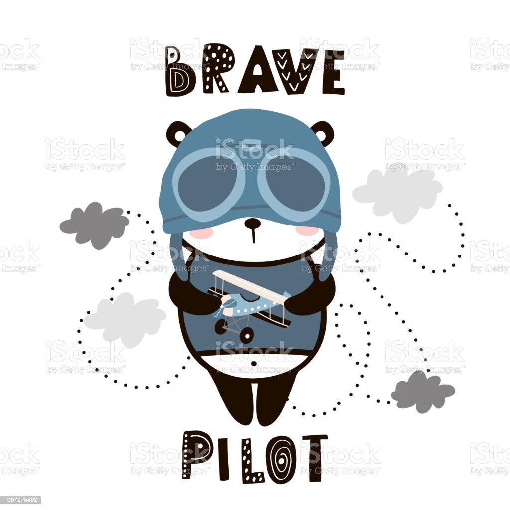 Vetores De Corajoso Piloto Panda Bonito Dos Desenhos Animados Do