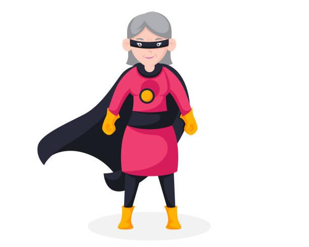 brave retired senior citizen superhero character illustration - old man mask stock illustrations