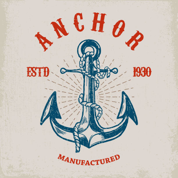Brave sailor. Hand drawn anchor on grunge background. Design element for poster, card, t shirt. vector art illustration