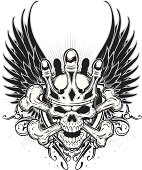 brave skull and wings