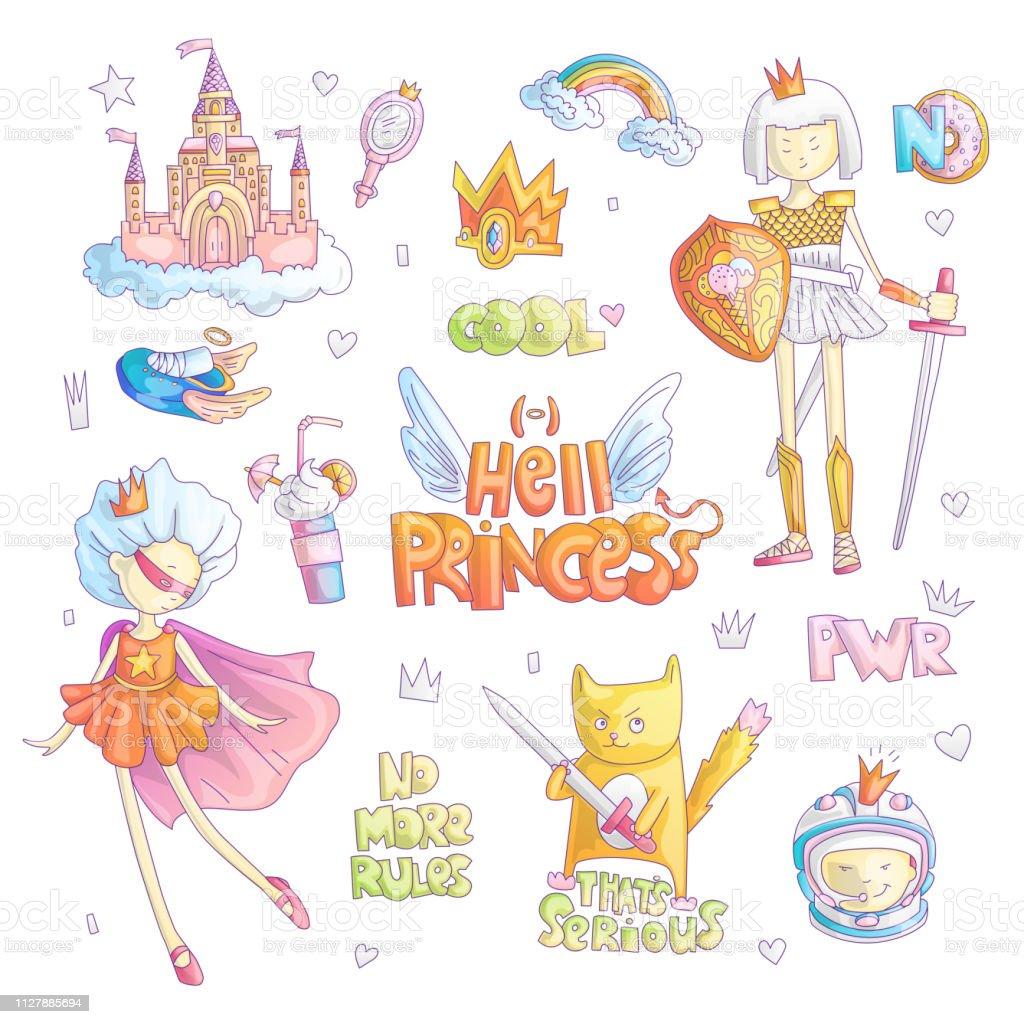 Ilustración De Set Brave Tomboy Infierno Princesa Vector De