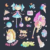Brave tomboy princess vector cartoon set. Princess magic and feminism illustration, little teen girl with ball, princess superhero, brave girl illustration. Feminism princesses collection - unicorn, tiara, crown