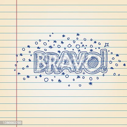 Line drawing of Bravo Text on ruled paper. Elements are grouped. contains eps10 and high resolution jpeg
