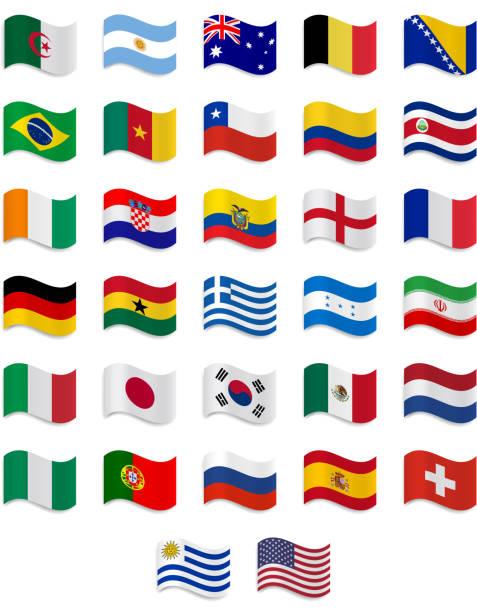 Bandeira do Brasil 2014- coleção completa - ilustração de arte em vetor