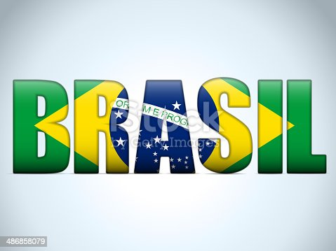 istock Brazil 2014 Letters with Brazilian Flag 486858079
