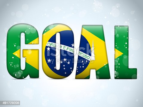 istock Brazil 2014 Letters with Brazilian Flag 491729205