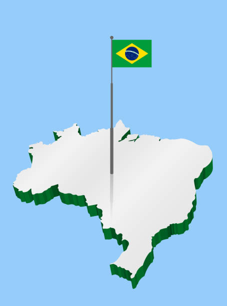 Brazil 3D Map with Flagpole and Brazilian Flag vector art illustration