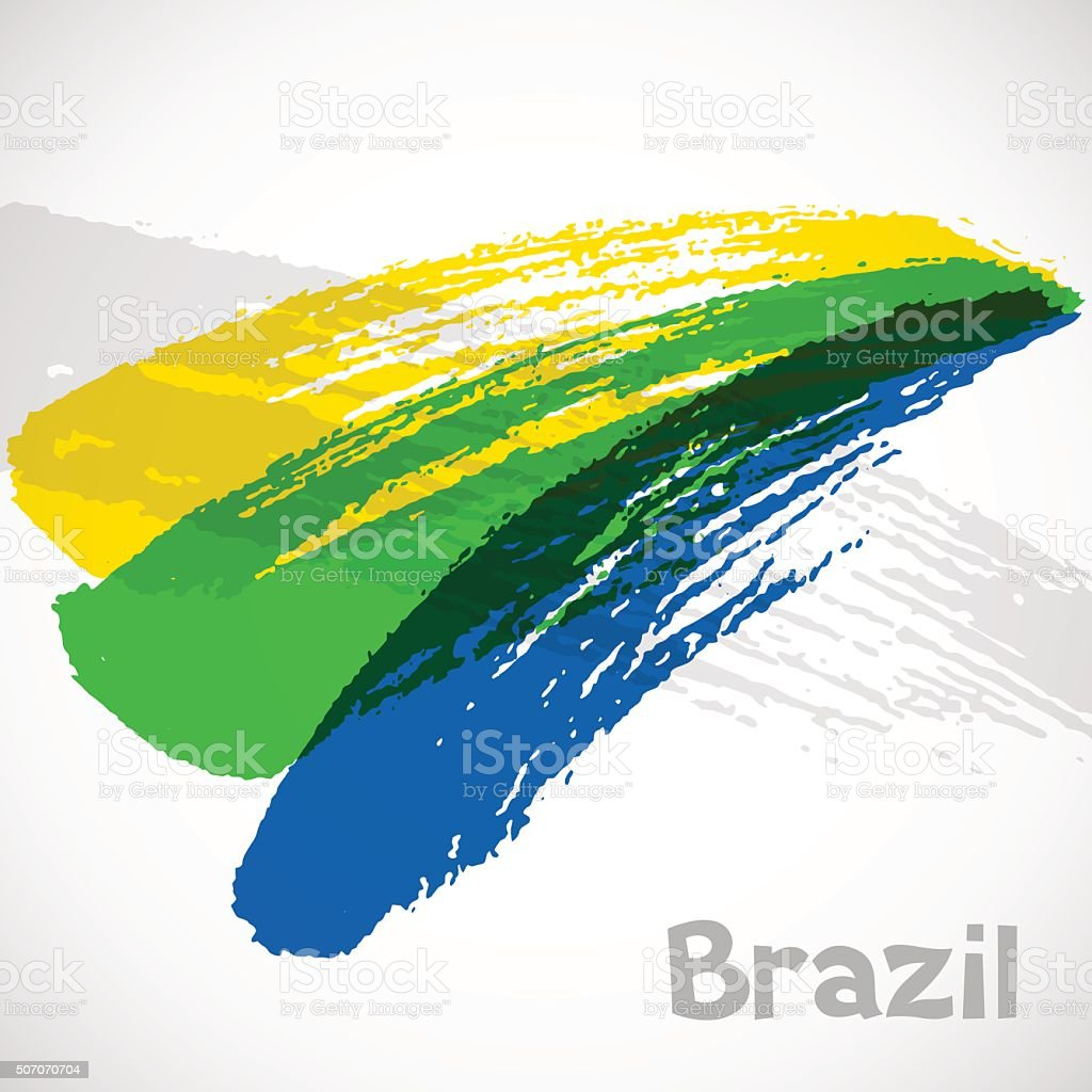 Brazil abstract background with grunge paint strokes in color of vector art illustration