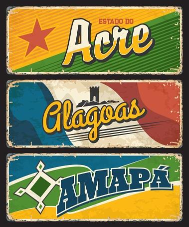Brazil Acre, Clagoas, Amapa states