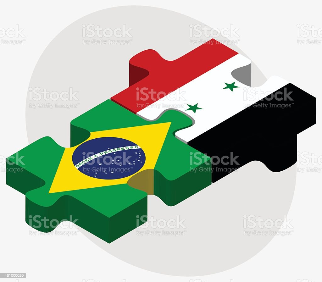 Brazil and Syria Flags vector art illustration