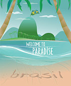 vector background of a beautiful brazilian beach with