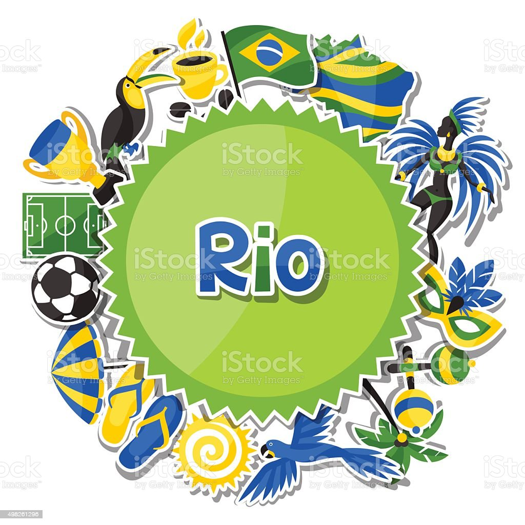 Brazil background with sticker objects and cultural symbols vector art illustration