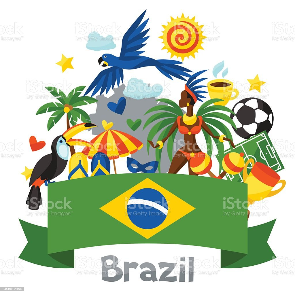 Brazil background with stylized objects and cultural symbols vector art illustration