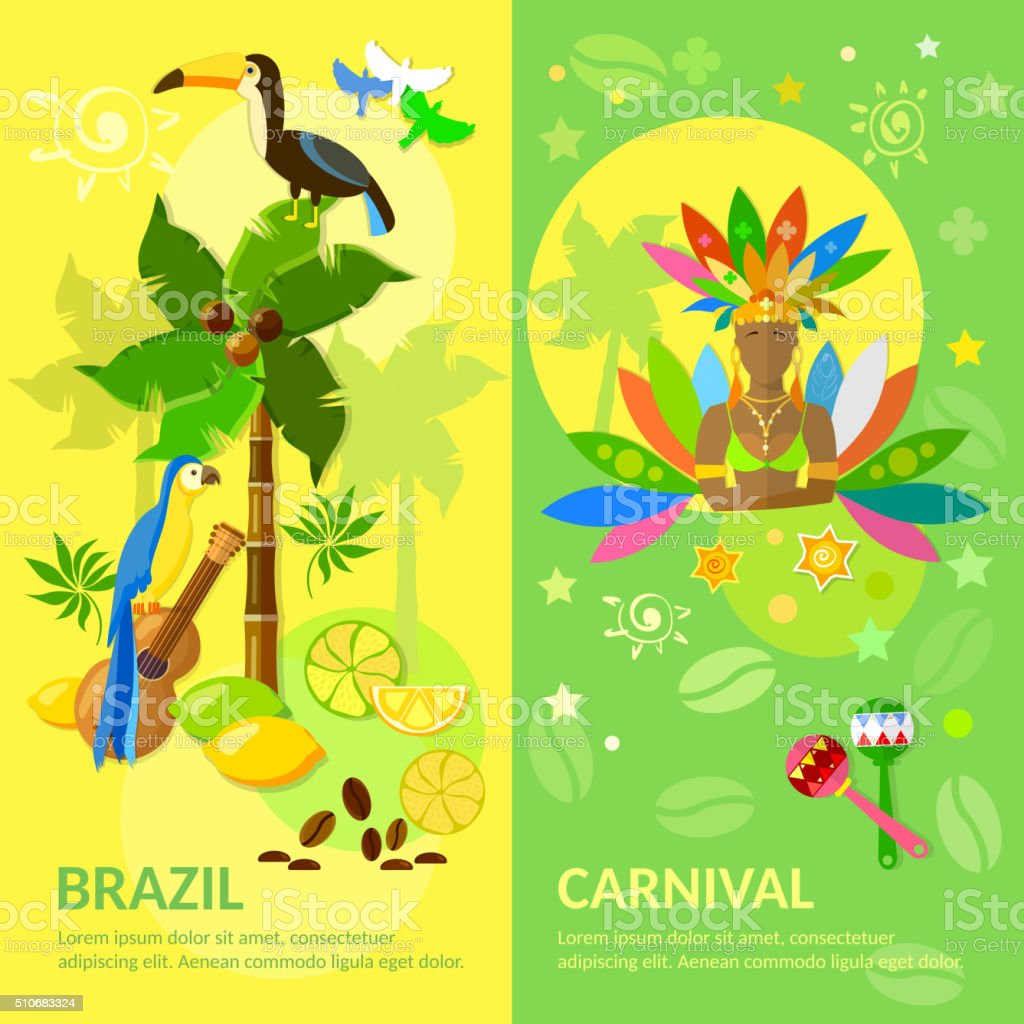 Brazil banners Brazilian Carnival Brazilian culture vector art illustration