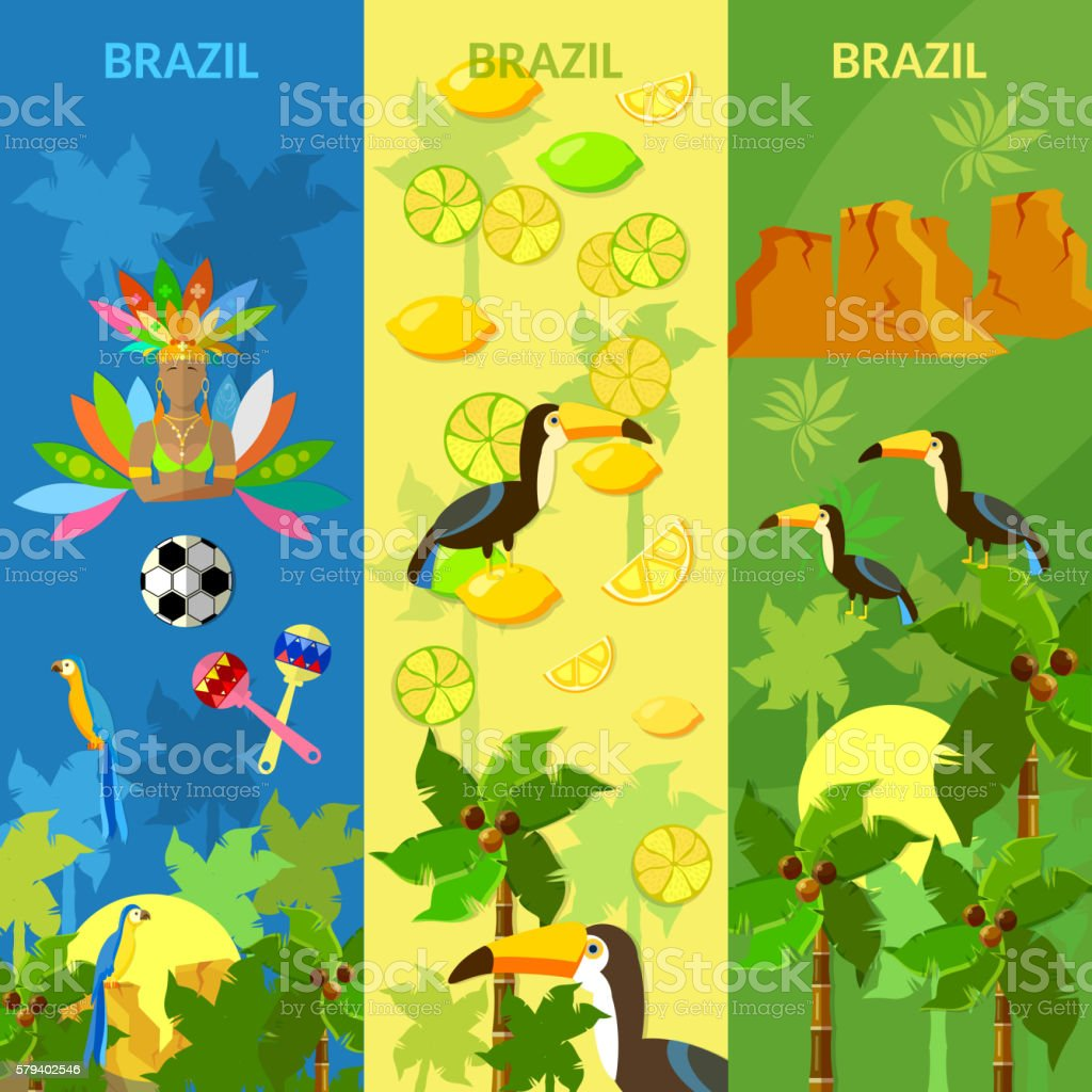 Brazil banners Rio de Janeiro brazilian culture and attractions vector art illustration