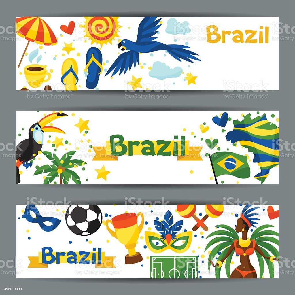 Brazil banners with stylized objects and cultural symbols vector art illustration