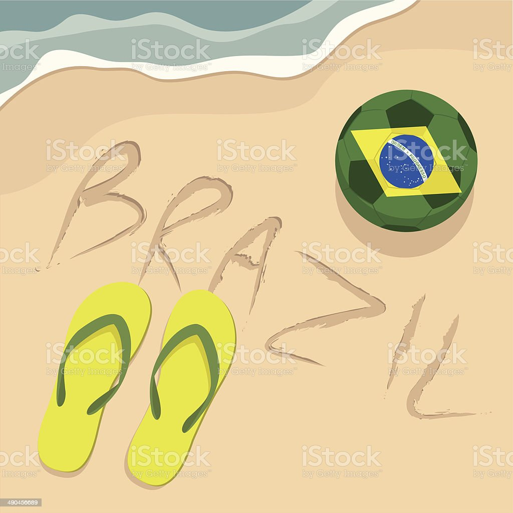 Brazil beach with football and slippers. vector art illustration