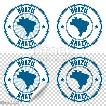 Map of Brazil on a blue sticker and a blue rubber stamp. They are composed of the map in the middle with the names around, separated by stars. The stamp at the top right is created in a vintage style, a grunge texture is added to create a vintage and realistic effect. Vector Illustration (EPS10, well layered and grouped). Easy to edit, manipulate, resize or colorize. Please do not hesitate to contact me if you have any questions, or need to customise the illustration. http://www.istockphoto.com/portfolio/bgblue