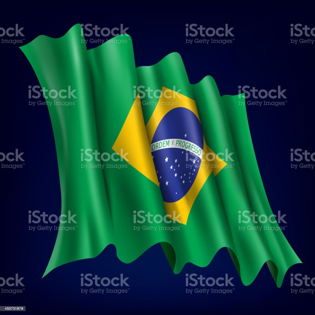 Brazil, Brazilian Flag vector art illustration