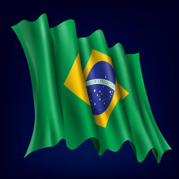 Brazil, Brazilian Flag vector art illustration