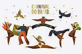 Brazil Carnival Costume Dancer Character Banner. Man Woman Dance at Brazilian National Holiday Music Festival Poster Design. Exotic Beautiful Carnaval Flat Cartoon Vector Illustration