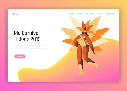 8bf9e631f391 Ilustración de Brasil Carnaval Bailarina Mujer Carácter Landing Page ...