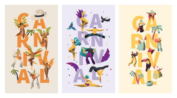 bildbanksillustrationer, clip art samt tecknat material och ikoner med brasilien carnival exotiska typografi banner teckenuppsättning. fjäder bikini latino kvinna dans färgglada parade. man spela latin musik för rio levande festival vertikala affisch design platt vektorillustration - latino music