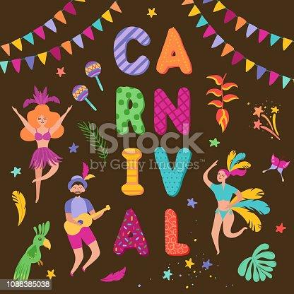 8ba9078fc1d0 ᐈ Imagen de Brasil Carnaval festivo conjunto con bailes personajes ...