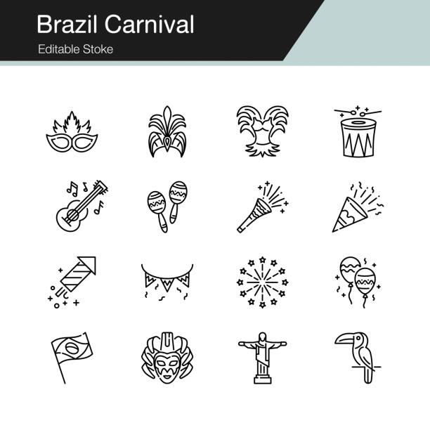 brazil carnival icons. modern line design. for presentation, graphic design, mobile application, web design, infographics, ui. editable stroke. - instrument perkusyjny stock illustrations