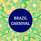 Brazil Carnival illustration vector. Colorful tropical flowers background. Festive design for Rio de Janeiro banner, dance show poster, cards or music festival flyer.
