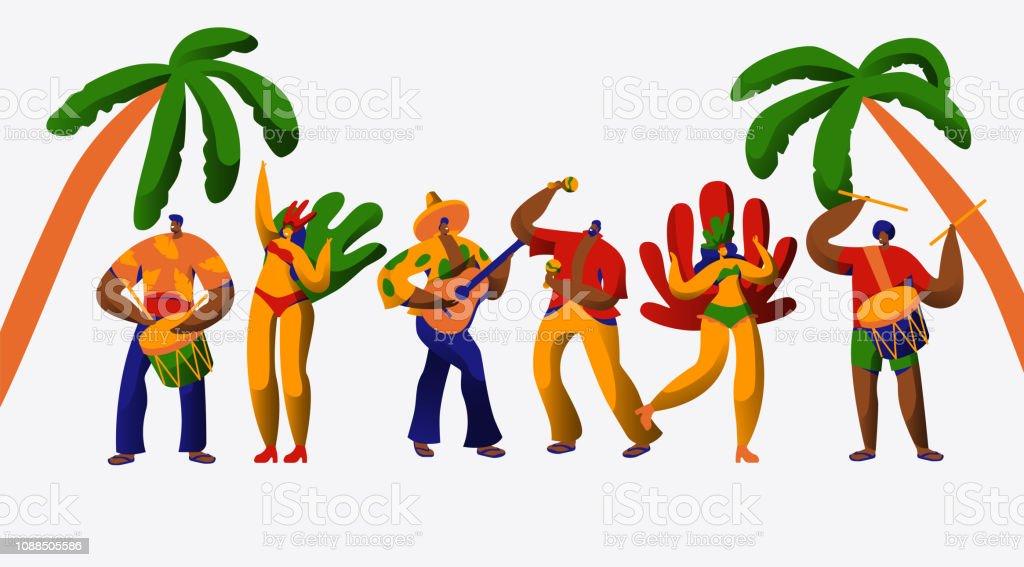 62cc18db0298 Ilustración de Brasil Carnaval Fiesta Baile Samba Conjunto Hombre ...
