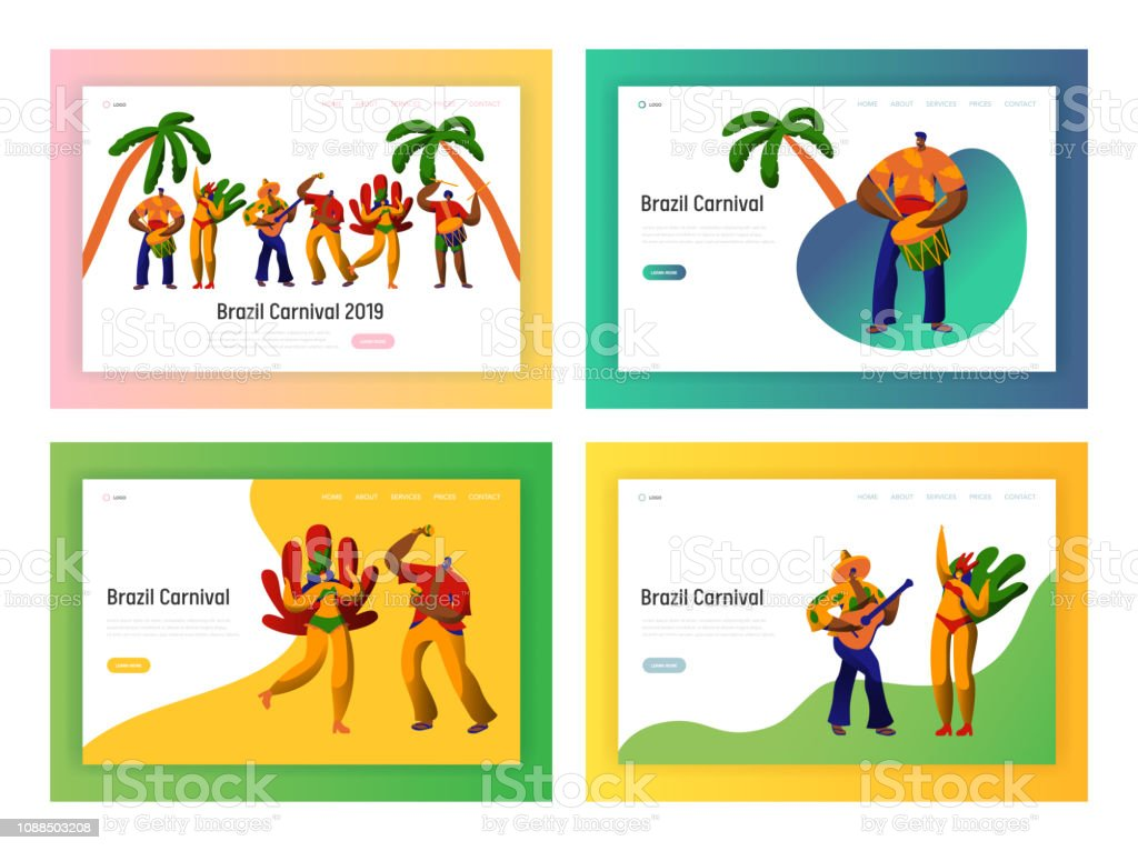 Brazil Carnival Party Dancer Landing Page Set Man Woman Dance At