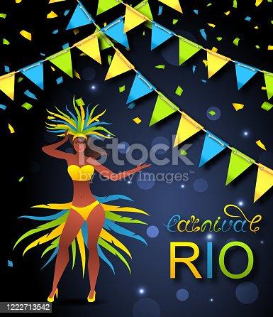 istock Brazil Carnival Poster with Girl Dancer Wearing Festival Costume, Rio Carnaval Festival 1222713542