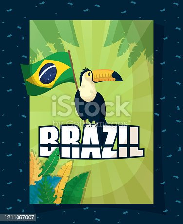 istock brazil carnival poster with toucan and flag 1211067007