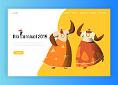 Brazil Carnival Woman Couple Landing Page. Woman Dance in Traditional Brazilian Costume at Rio de Janeiro Festival. Exotic People Parade for Website or Web Page Flat Cartoon Vector Illustration