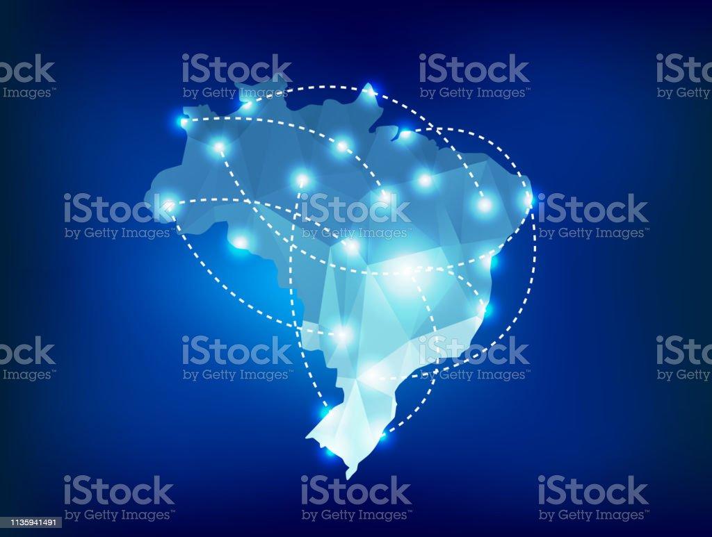 Mapa do país de Brasil poligonal com lugares das luzes do ponto - Vetor de Abstrato royalty-free