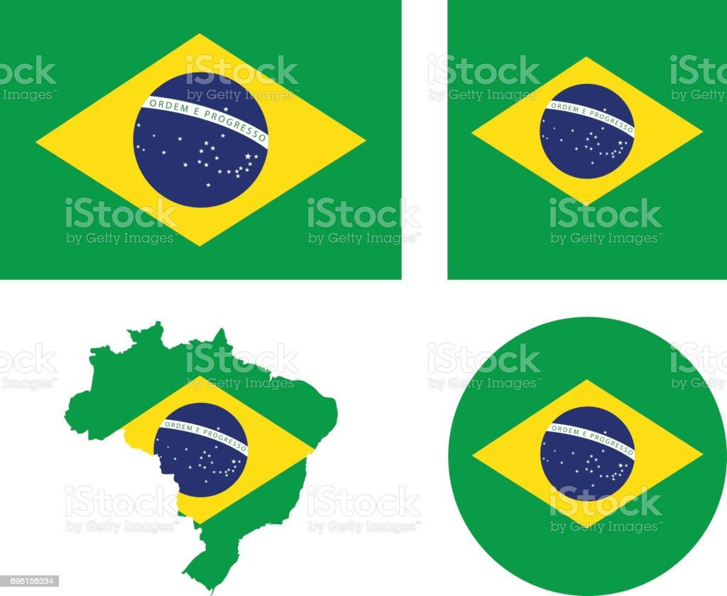 Brazil flag and map vector art illustration