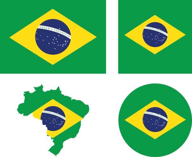 Brazil flag and map vector art illustration