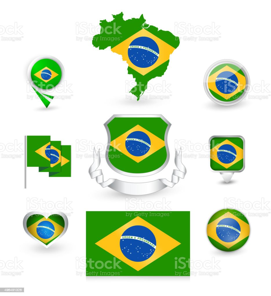 Brazil Flag Collection vector art illustration