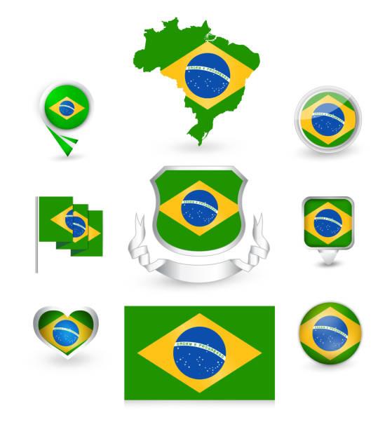Drapeau du Brésil Collection - Illustration vectorielle