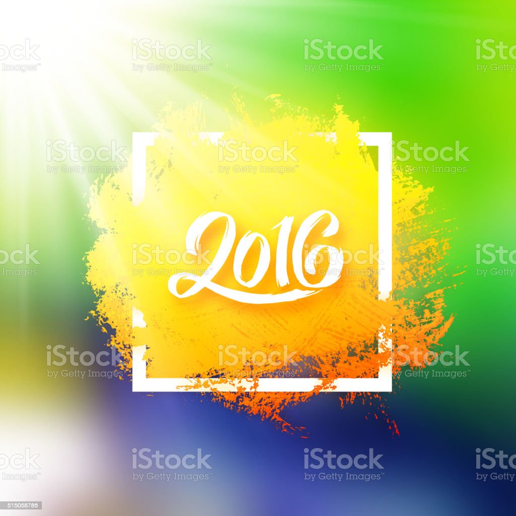 Brazil flag colors background with 2016 text vector art illustration