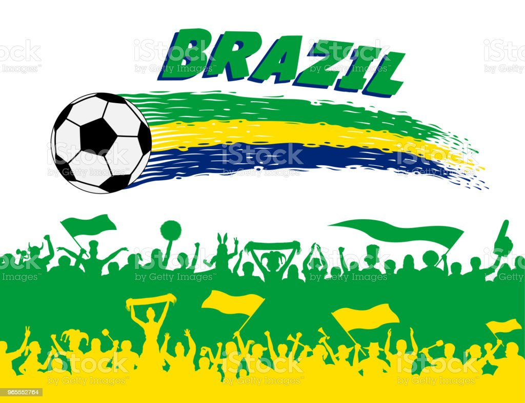 Brazil flag colors with soccer ball and Brazilian supporters silhouettes vector art illustration