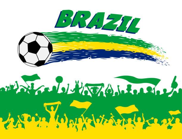 brasilien-flagge-farben mit fußball und brasilianischen befürworter silhouetten - fussball fan stock-grafiken, -clipart, -cartoons und -symbole