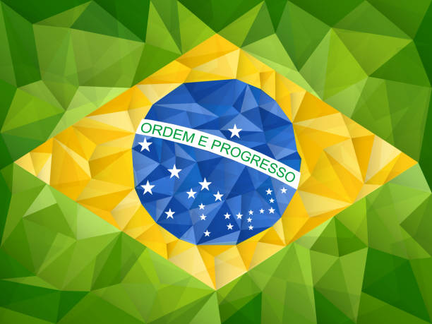 Brazil Flag Geometric Triangle Texture Background vector art illustration