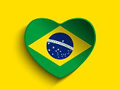 Brazil Flag Heart Paper Button